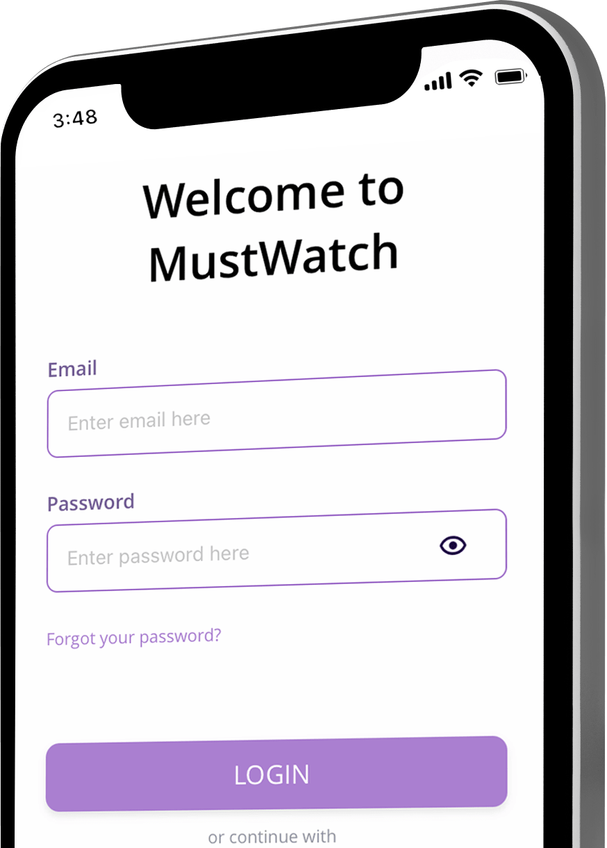 MustWatch welcome screen